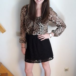 M Leopard and Black Mini Dress with Long Sleeves